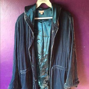 J.Jill Hooded Jacket Teal Large